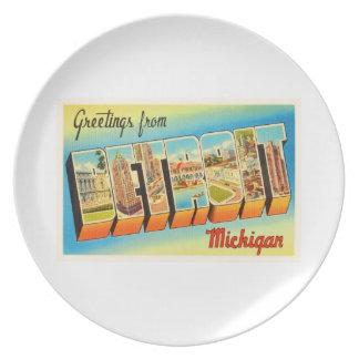 Detroit Michigan MI Old Vintage Travel Souvenir Melamine Plate
