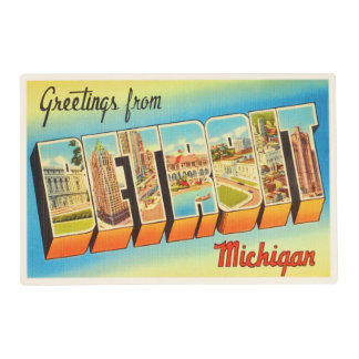 Detroit Michigan MI Old Vintage Travel Souvenir Placemat