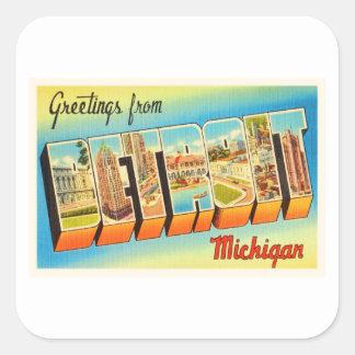 Detroit Michigan MI Old Vintage Travel Souvenir Square Sticker