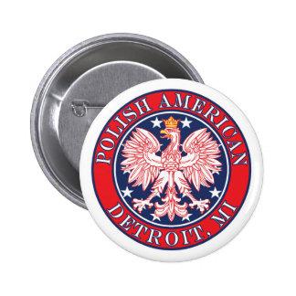 Detroit Michigan Polish Pinback Button