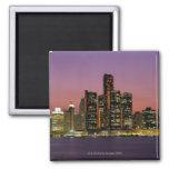 Detroit, Michigan Skyline at Night 2 Inch Square Magnet