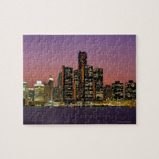 Detroit, Michigan Skyline at Night Jigsaw Puzzle