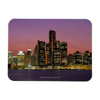 Detroit, Michigan Skyline at Night Magnet