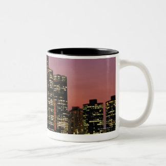 Detroit, Michigan Skyline at Night Two-Tone Coffee Mug
