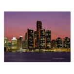 Detroit, Michigan Skyline at Night Postcards
