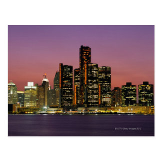 Detroit, Michigan Skyline at Night Postcards
