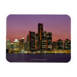 Detroit, Michigan Skyline at Night Rectangle Magnet