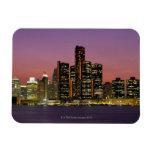 Detroit, Michigan Skyline at Night Rectangular Photo Magnet