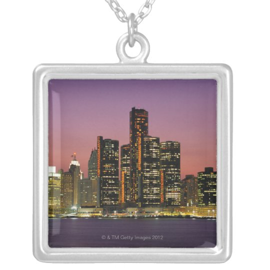 Detroit, Michigan Skyline at Night Silver Plated Necklace