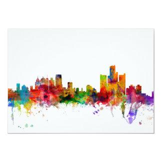 Detroit Michigan Skyline 5x7 Paper Invitation Card