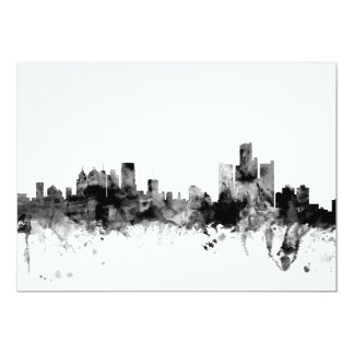 Detroit Michigan Skyline 13 Cm X 18 Cm Invitation Card
