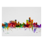 Detroit Michigan Skyline Posters