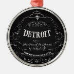 Detroit Michigan - The Paris of the Midwest Round Metal Christmas Ornament