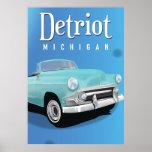 Detroit Michigan USA Vintage Travel poster