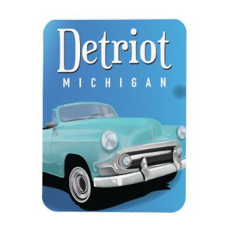 Detroit Michigan USA Vintage Travel poster Magnet