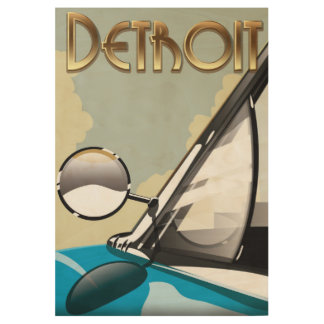 Detroit Michigan Vintage automobile travel poster Wood Poster