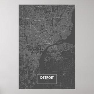 Detroit, Michigan (white on black) Poster