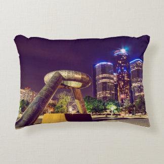 Detroit Night Skyline Accent Pillow