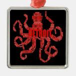 Detroit Octopus Art on Black Christmas Tree Ornament