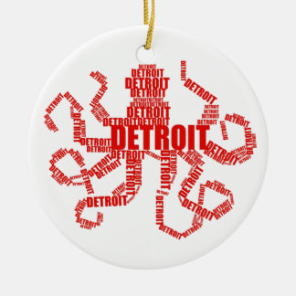 Detroit Octopus Double-Sided Ceramic Round Christmas Ornament