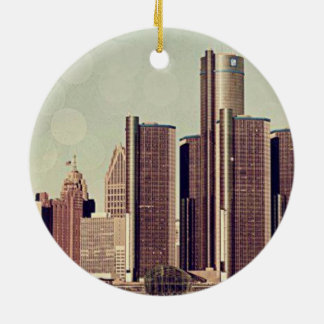 DETROIT Double-Sided CERAMIC ROUND CHRISTMAS ORNAMENT