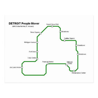 Detroit people mover system postcard