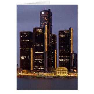 Detroit Renaissance Center At Dusk Card