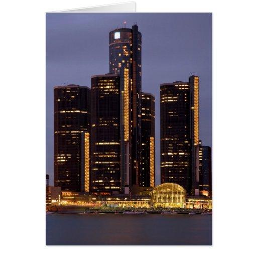 Detroit Renaissance Center At Dusk Cards