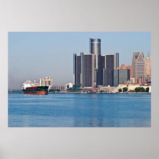 Detroit River Skyline Poster