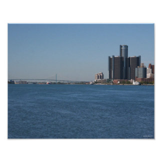 Detroit Riverfront on a Sunny Day Poster