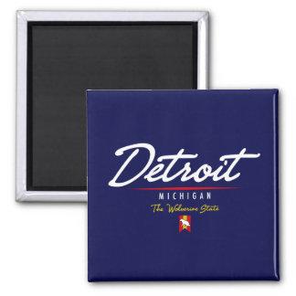 Detroit Script 2 Inch Square Magnet