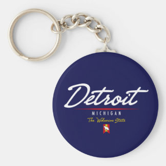 Detroit Script Keychain
