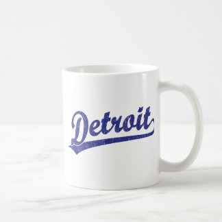 Detroit script logo in blue coffee mug