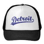 Detroit script logo in blue trucker hats