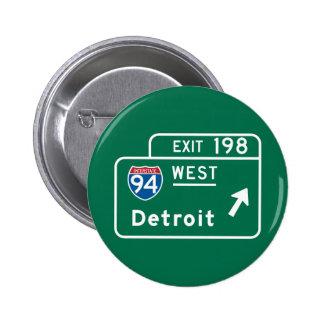 Detroit, señal de tráfico del MI Pin Redondo 5 Cm
