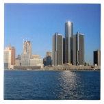 Detroit skyline 2 large square tile
