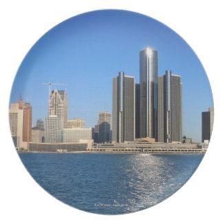 Detroit skyline 2 melamine plate