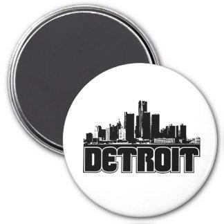 Detroit Skyline 3 Inch Round Magnet