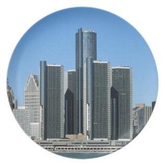 Detroit Skyline 4 Melamine Plate