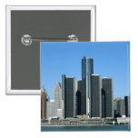 Detroit Skyline 4 Pinback Button