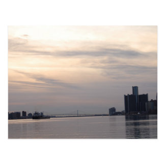 detroit skyline and freighter postcard