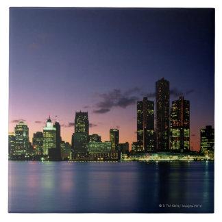 Detroit Skyline at Dusk 2 Ceramic Tile