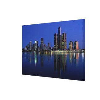 Detroit Skyline at Night Canvas Prints