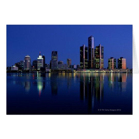 Detroit Skyline at Night Card