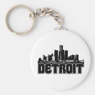 Detroit Skyline Basic Round Button Keychain