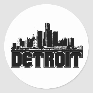 Detroit Skyline Classic Round Sticker
