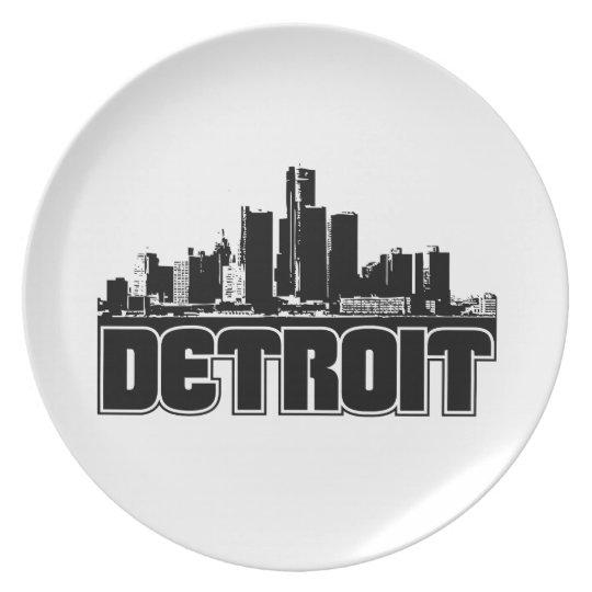 Detroit Skyline Dinner Plate