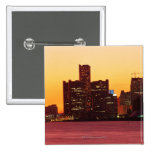 Detroit skyline in colorful sunset 2 inch square button