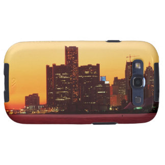 Detroit skyline in colorful sunset samsung galaxy s3 cases