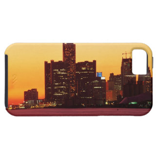 Detroit skyline in colorful sunset iPhone 5 cases